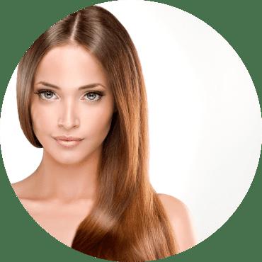 Frau mit langen braune Haaren